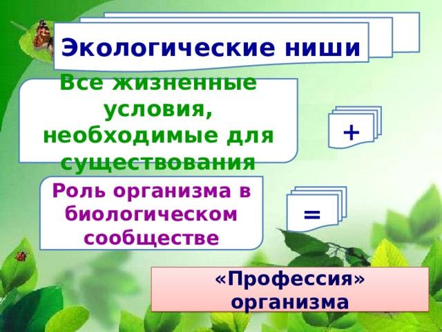 Экологические ниши Все жизненные условия, необходимые для существования + Роль организма в биологическом сообществе = «Профессия» организма