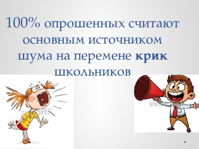 100% опрошенных считают основным источником шума на перемене крик школьников