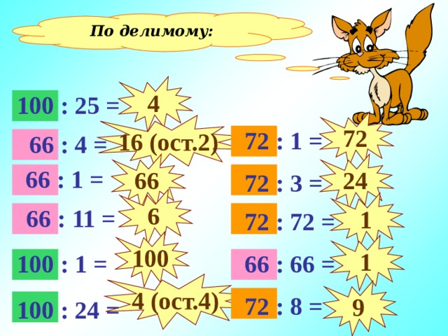 По делимому: 4 100 : 25 = 72 16 (ост. 2 )  72 : 1 =  66 : 4 = 66 24  66 : 1 =  72 : 3 = 6 1  66 : 11 =  72 : 72 = 100 1 100 : 1 =  66 : 66 = 4 (ост.4) 9  72 : 8 = 100 : 24 =