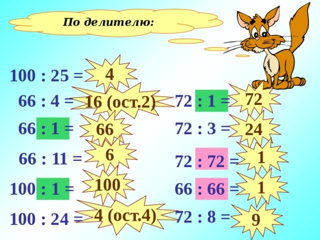 По делителю: 4 100 : 25 = 72 16 (ост. 2 )  72 : 1 =  66 : 4 = 24 66  72 : 3 =  66 : 1 = 6 1  66 : 11 =  72 : 72 = 1 – Делитель равен 1 2 – Делитель равен делимому 3 – Делитель равен другим числам 100 1 100 : 1 =  66 : 66 = 4 (ост.4) 9  72 : 8 = 100 : 24 =