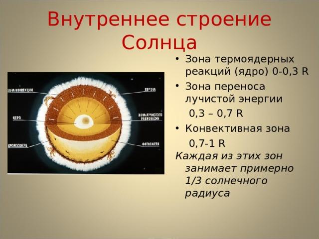Внутреннее строение Солнца Зона термоядерных реакций (ядро)  0-0,3 R Зона переноса лучистой энергии  0,3 – 0,7 R Конвективная зона  0,7-1 R Каждая из этих зон занимает примерно 1/3 солнечного радиуса