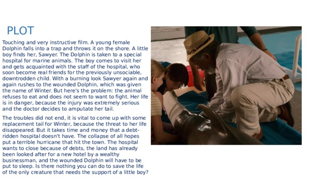 PLOT Touching and very instructive film. A young female Dolphin falls into a trap and throws it on the shore. A little boy finds her, Sawyer. The Dolphin is taken to a special hospital for marine animals. The boy comes to visit her and gets acquainted with the staff of the hospital, who soon become real friends for the previously unsociable, downtrodden child. With a burning look Sawyer again and again rushes to the wounded Dolphin, which was given the name of Winter. But here's the problem: the animal refuses to eat and does not seem to want to fight. Her life is in danger, because the injury was extremely serious and the doctor decides to amputate her tail. The troubles did not end, it is vital to come up with some replacement tail for Winter, because the threat to her life disappeared. But it takes time and money that a debt-ridden hospital doesn't have. The collapse of all hopes put a terrible hurricane that hit the town. The hospital wants to close because of debts, the land has already been looked after for a new hotel by a wealthy businessman, and the wounded Dolphin will have to be put to sleep. Is there nothing you can do to save the life of the only creature that needs the support of a little boy?