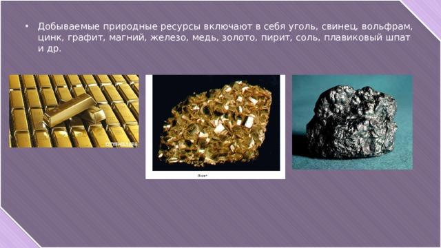 Добываемые природные ресурсы включают в себя уголь, свинец, вольфрам, цинк, графит, магний, железо, медь, золото, пирит, соль, плавиковый шпат и др.