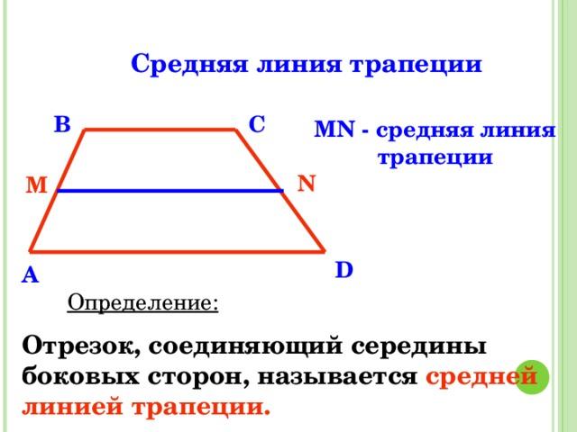 Средняя линия трапеции B C MN - средняя линия трапеции N M D A Определение: Отрезок, соединяющий середины боковых сторон, называется  средней линией трапеции.
