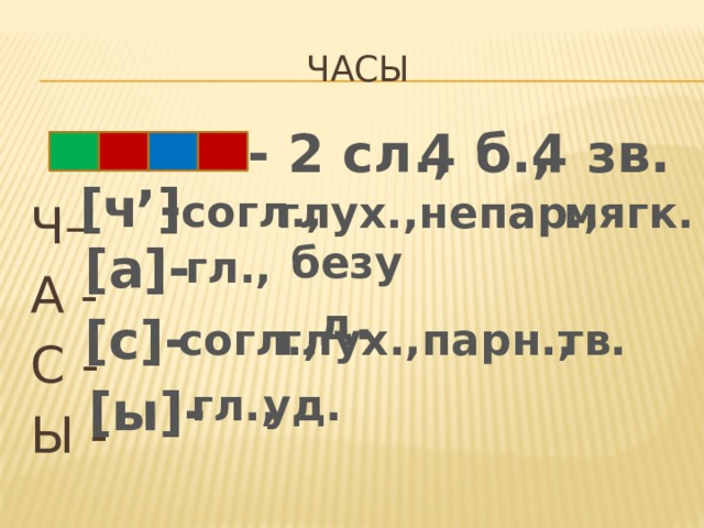 Часы - 2 сл., 4 б., 4 зв. Ч– А - С - Ы - ,  - согл., [ч ] мягк. глух.,непар.,  безуд . [а]- гл., [c]- глух.,парн., согл., тв. [ы]- гл., уд.