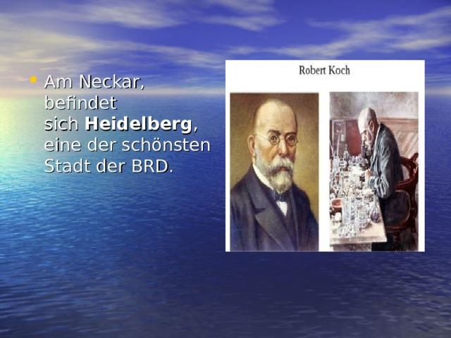 Am Neckar, befindet sich Heidelberg , eine der schönsten Stadt der BRD.