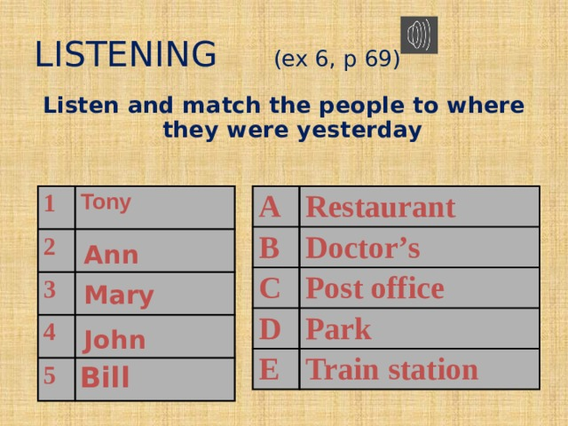 LISTENING (ex 6, p 69) Listen and match the people to where they were yesterday  A 1 B 2 Tony Restaurant C 3 Doctor's D 4 Post office 5 E Park Train station Ann Mary John Bill