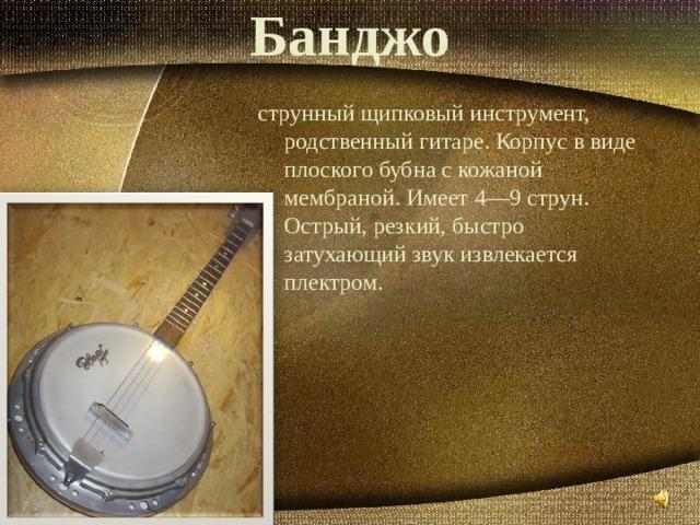 Банджо струнный щипковый инструмент, родственный гитаре. Корпус в виде плоского бубна с кожаной мембраной. Имеет 4—9 струн. Острый, резкий, быстро затухающий звук извлекается плектром.