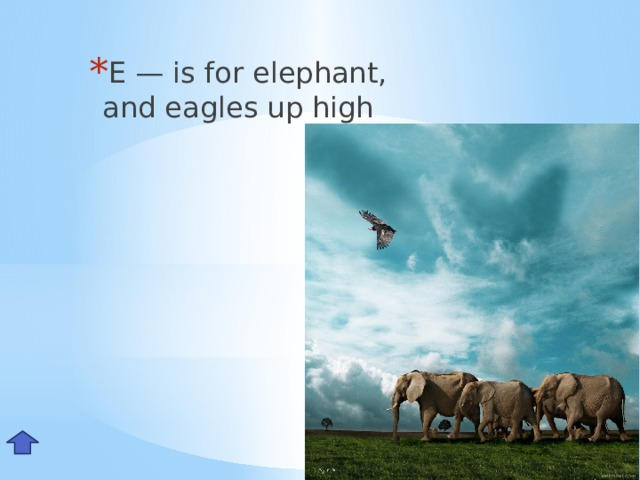 E— is for elephant,  and eagles up high Ee