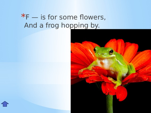 F — is for some flowers,  And a frog hopping by. Ff
