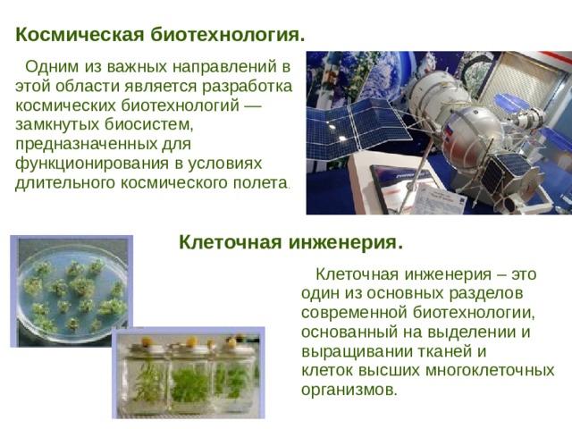Космическая биотехнология.   Одним из важных направлений в этой области является разработка космических биотехнологий — замкнутых биосистем, предназначенных для функционирования в условиях длительного космического полета . Клеточная инженерия.  Клеточная инженерия – это один из основных разделов современной биотехнологии, основанный на выделении и выращивании тканей и клеток высших многоклеточных организмов.