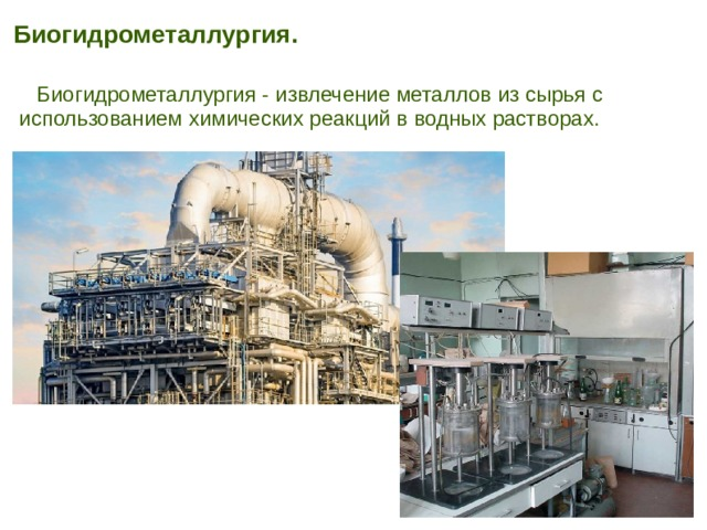 Биогидрометаллургия.   Биогидрометаллургия - извлечение металлов из сырья с использованием химических реакций в водных растворах.