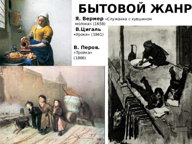 БЫТОВОЙ ЖАНР Я. Вермер «Служанка с кувшином молока» (1658)  В.Цигаль « Уроки» (1961) В. Перов. «Тройка» (1866)