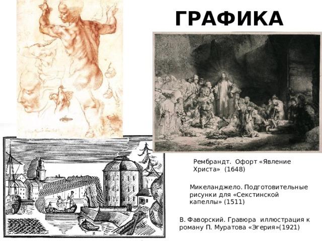 ГРАФИКА Рембрандт. Офорт «Явление Христа»(1648) Микеланджело. Подготовительные рисунки для «Секстинской капеллы» (1511) В. Фаворский. Гравюра иллюстрация к роману П. Муратова «Эгерия»(1921)
