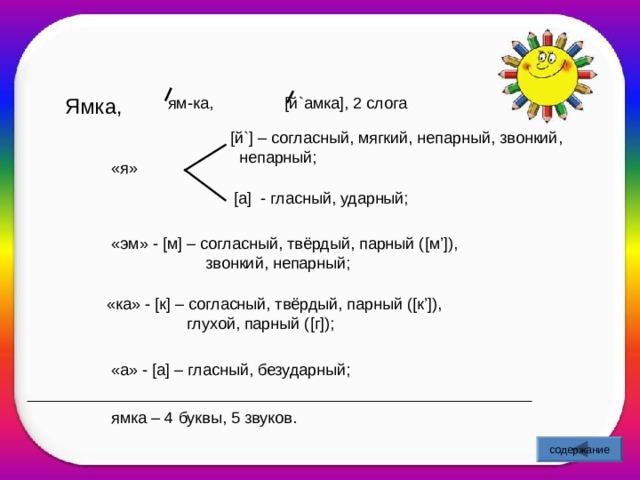 Ямка, ям-ка, [ й ` амка ] , 2 слога    [ й `] – согласный, мягкий, непарный, звонкий,  непарный; «я»  [ а ] - гласный, ударный; «эм» - [ м ] – согласный, твёрдый, парный ( [ м '] ),  звонкий, непарный; «ка» - [ к ] – согласный, твёрдый, парный ( [ к '] ),  глухой, парный ( [ г ] ); «а» - [ а ] – гласный, безударный; ямка – 4 буквы, 5 звуков. содержание