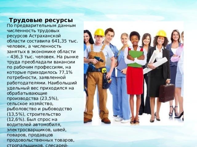Трудовые ресурсы По предварительным данным численность трудовых ресурсов Астраханской области составила 641,35 тыс. человек, а численность занятых в экономике области – 436,3 тыс. человек. На рынке труда преобладали вакансии по рабочим профессиям, на которые приходилось 77,1% потребности, заявленной работодателями. Наибольший удельный вес приходился на обрабатывающие производства (23,5%), сельское хозяйство, рыболовство и рыбоводство (13,5%), строительство (12,6%). Был спрос на водителей автомобиля, электросварщиков, швей, поваров, продавцов продовольственных товаров, стропальщиков, слесарей-ремонтников, токарей, маляров, плотников, трактористов и др. За год в службу занятости населения региона обратились в поиске работы 29,9 тыс. граждан, что составляет 94,5% к 2015 году. Признано безработными 15,4 тыс. человек.