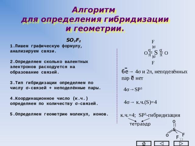 Алгоритм  для определения гибридизации  и геометрии.  SO 2 F 2 1.Пишем графическую формулу, анализируем связи.  2.Определяем сколько валентных электронов расходуется на образование связей.  3.Тип гибридизации определяем по числу σ -связей + неподелённые пары.  4.Координационное число (к.ч.) определяем по количеству σ -связей.  5.Определяем геометрию молекул, ионов.   F σ σ σ  О = S = О  π π σ F 6е → 4 σ и 2 π , неподелённых пар е нет 4 σ→ SP 3 4 σ→  к.ч.( S)=4 к.ч.=4; SP 3 - гибридизация о тетраэдр s o F F