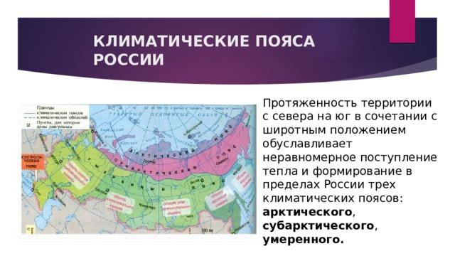 КЛИМАТИЧЕСКИЕ ПОЯСА РОССИИ Протяженность территории с севера на юг в сочетании с широтным положением обуславливает неравномерное поступление тепла и формирование в пределах России трех климатических поясов: арктического , субарктического , умеренного.