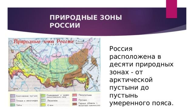 ПРИРОДНЫЕ ЗОНЫ РОССИИ Россия расположена в десяти природных зонах - от арктической пустыни до пустынь умеренного пояса.