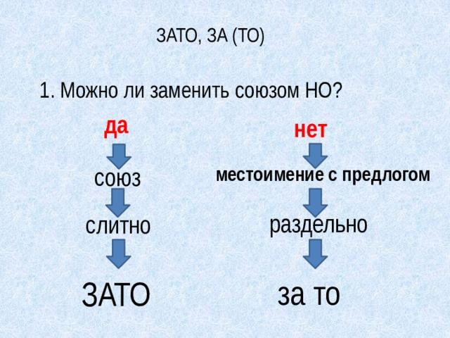 ЗАТО, ЗА (ТО) 1. Можно ли заменить союзом НО? да нет союз местоимение с предлогом раздельно слитно за то ЗАТО