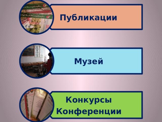 Публикации Музей Конкурсы Конференции