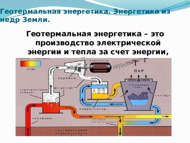 Геотермальная энергетика. Энергетика из недр Земли. Геотермальная энергетика – это производство электрической энергии и тепла за счет энергии, содержащейся в недрах земли.