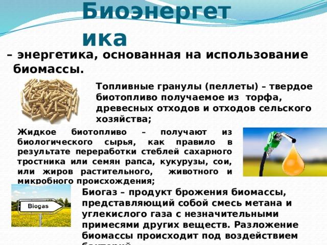 Биоэнергетика  – энергетика, основанная на использование биомассы. Топливные гранулы (пеллеты) – твердое биотопливо получаемое из торфа, древесных отходов и отходов сельского хозяйства; Жидкое биотопливо – получают из биологического сырья, как правило в результате переработки стеблей сахарного тростника или семян рапса, кукурузы, сои, или жиров растительного, животного и микробного происхождения; Биогаз – продукт брожения биомассы, представляющий собой смесь метана и углекислого газа с незначительными примесями других веществ. Разложение биомассы происходит под воздействием бактерий.