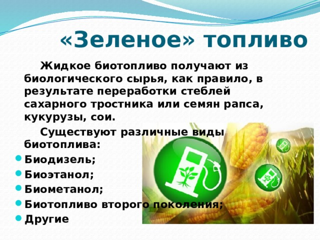 «Зеленое» топливо   Жидкое биотопливо получают из биологического сырья, как правило, в результате переработки стеблей сахарного тростника или семян рапса, кукурузы, сои.   Существуют различные виды биотоплива: