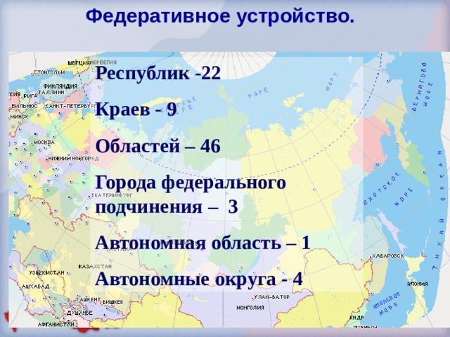 Федеративное устройство. Республик -22 Краев - 9 Областей – 4 6 Города федерального подчинения – 3 Автономная область – 1 Автономные округа - 4