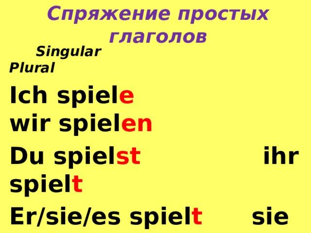 Спряжение простых глаголов  Singular Plural Ich spiel e wir spiel en Du spiel st ihr spiel t Er/sie/es spiel t sie spiel en  Sie spiel en