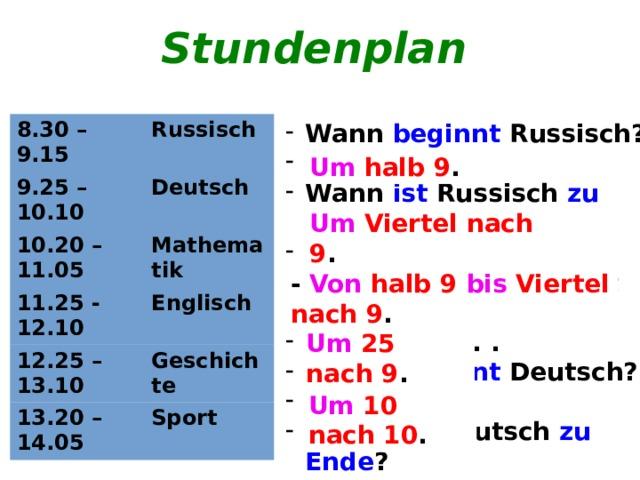 Stundenplan Wann beginnt Russisch? ... Wann ist Russisch zu Ende ? ... Von wann bis wann ist Russisch? Von ... bis ... . Wann beginnt Deutsch? ... Wann ist Deutsch zu Ende ? ... ... 8.30 – 9.15 Russisch 9.25 – 10.10 Deutsch 10.20 – 11.05 Mathematik 11.25 - 12.10 Englisch 12.25 – 13.10 13.20 – 14.05 Geschichte Sport Um halb 9 . Um Viertel nach 9 . -  Von halb 9 bis Viertel nach 9 . Um 25 nach 9 . Um 10 nach 10 .