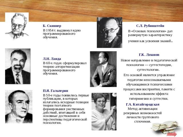 С.Л. Рубинштейн В «Основах психологии» дал развернутую характеристику учения как усвоения знаний . Б. Скиннер В 1954 г. выдвинул идею программированного обучения. Л.Н. Ланда В 60-х годах сформулировал теорию алгоритмизации программированного обучения. П.Я. Гальперин В 50-е годы появились первые публикации, в которых излагались исходные позиции теории поэтапного формирования умственных действий, впитавшей в себя основные достижения и перспективы педагогической психологии. Г.К. Лозанов Новое направление в педагогической психологии — суггестопедии, суггестологии. Его основой является управление педагогом неосознаваемыми обучающимися психическими процессами восприятия, памяти с использованием эффекта гипермнезии и суггестии. Г.А. Китайгородская  Метод активизации резервных возможностей личности группового сплочения.