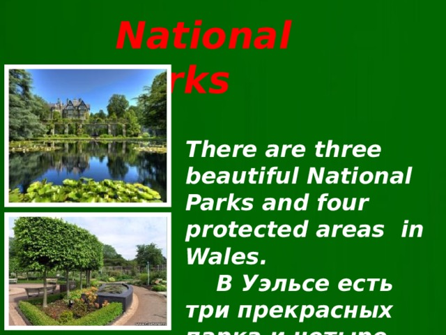 National Parks There are three beautiful National Parks and four protected areas in Wales.  В Уэльсе есть три прекрасных парка и четыре заповедных зоны.