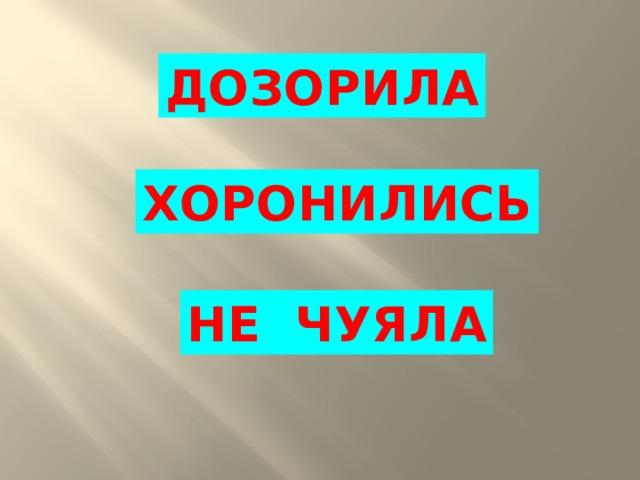 ДОЗОРИЛА ХОРОНИЛИСЬ НЕ  ЧУЯЛА