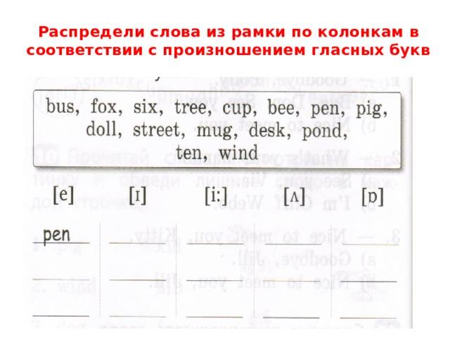 Распредели слова из рамки по колонкам в соответствии с произношением гласных букв