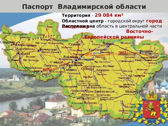 Паспорт Владимирской области Территория - 29 084 км²  Областной центр - городской округ город Владимир Расположена область в центральной части Восточно-Европейской равнины