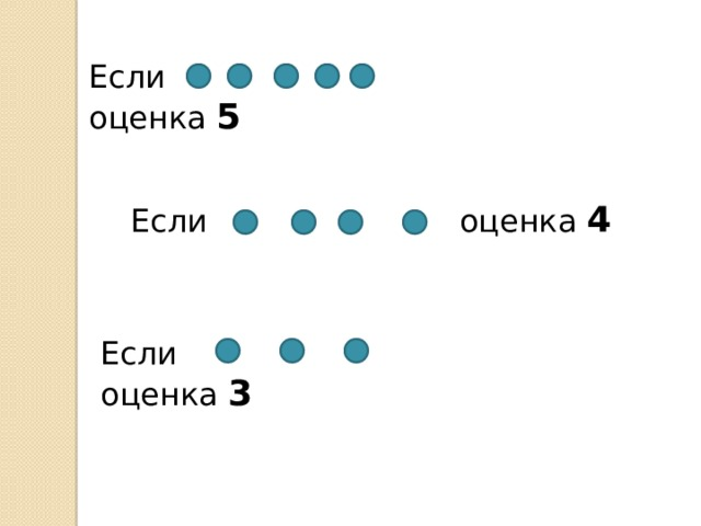 Если   оценка 5  Если оценка 4 Если   оценка 3