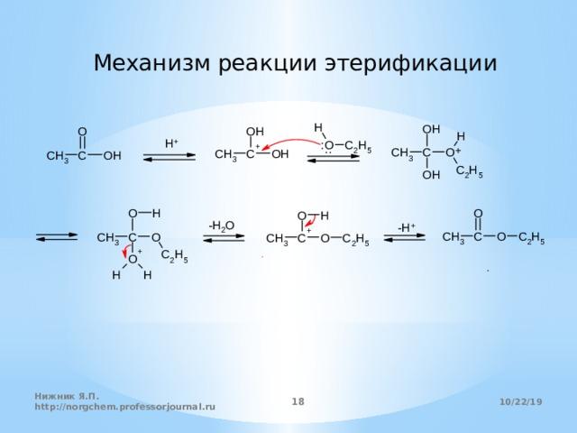 Механизм реакции этерификации 10/22/19 Нижник Я.П. http://norgchem.professorjournal.ru