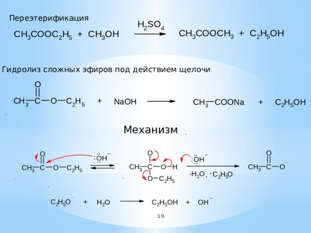Переэтерификация Гидролиз сложных эфиров под действием щелочи Механизм