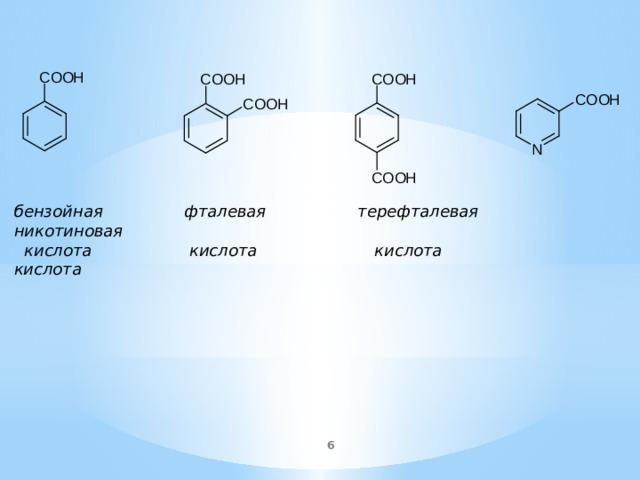 бензойная фталевая терефталевая никотиновая  кислота кислота кислота кислота