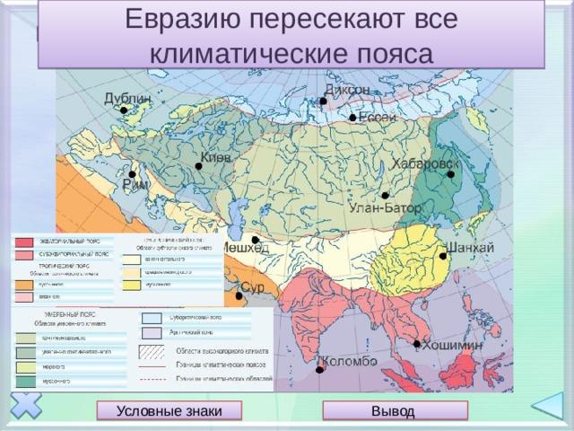 Евразию пересекают все климатические пояса Положение относительно климатических поясов Условные знаки Вывод