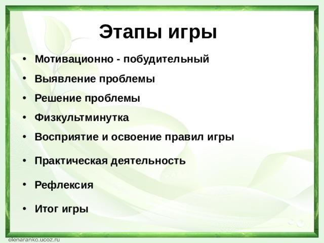 Этапы игры