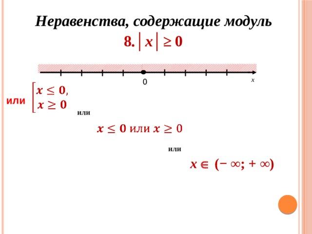 Неравенства, содержащие модуль 8 .│х│≥ 0 х 0  или или  или х   ( − ∞; + ∞)
