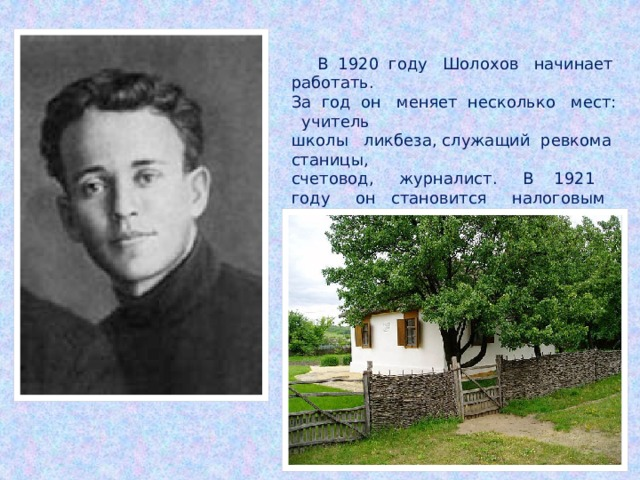 В 1920 году Шолохов начинает работать. За год он меняет несколько мест: учитель школы ликбеза, служащий ревкома станицы, счетовод, журналист. В 1921 году он становится налоговым инспектором в станице Букановской.