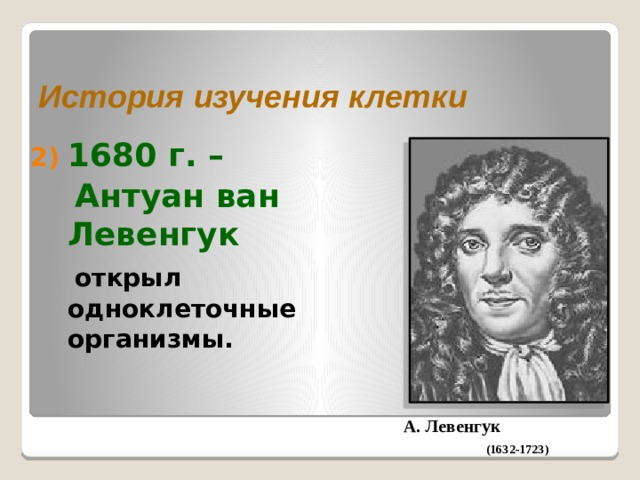 История изучения клетки 1680 г. –  Антуан ван Левенгук  открыл одноклеточные организмы. А. Левенгук (1632-1723)