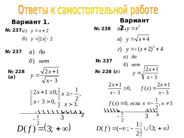 В ариант  2 . В ариант 1. № 23 8 № 23 7 № 23 7 № 23 7 № 2 28 ( в ) № 2 28 ( а ) х х