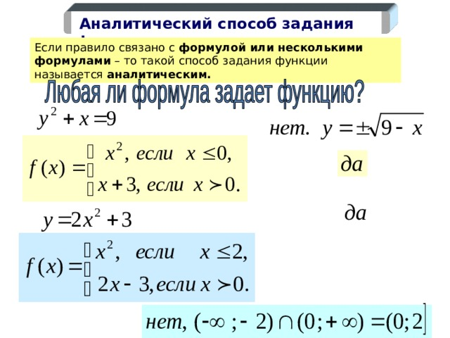 Аналитический способ задания функции Если правило связано с формулой или несколькими формулами – то такой способ задания функции называется аналитическим.  7