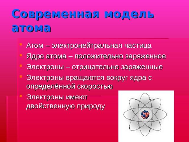 Современная модель атома