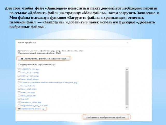 Для того, чтобы файл «Заявление» поместить в пакет документов необходимо перейти по ссылке «Добавить файл» на страницу «Мои файлы», затем загрузить Заявление в Мои файлы используя функцию «Загрузить файлы в хранилище»; отметить галочкой файл — «Заявление» и добавить в пакет, используя функцию «Добавить выбранные файлы».