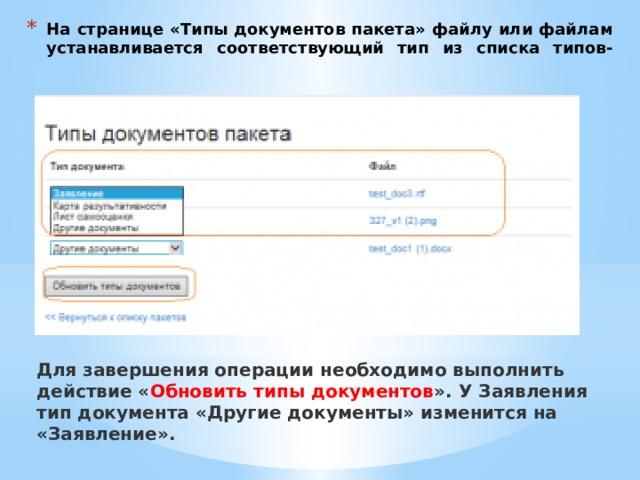 На странице «Типы документов пакета» файлу или файлам устанавливается соответствующий тип из списка типов-